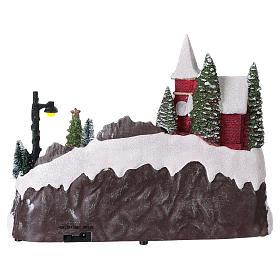 Escena navideña 20x30x20 cm Papá Noel patinadores movimiento batería s5