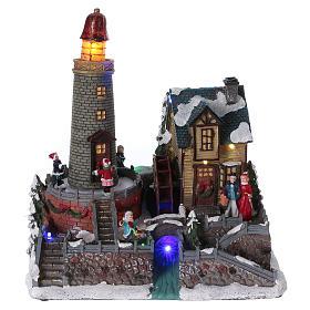 Villages de Noël miniatures: Scène hivernale 25x25x15 cm enfants moulin mouvement piles