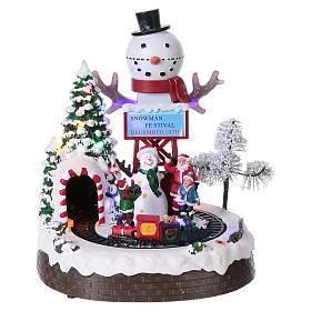 Cenários Natalinos em Miniatura: Cena natalina 30x25x20 cm trem em movimento corrente e pilhas