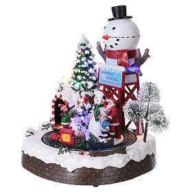 Christmas Animated Scene with Moving Train 30x25x20 cm current and battery operated s3