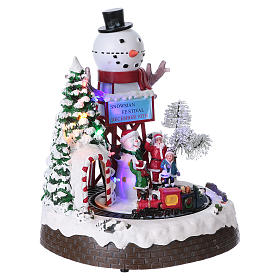 Christmas Animated Scene with Moving Train 30x25x20 cm current and battery operated s4