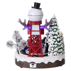 Christmas Animated Scene with Moving Train 30x25x20 cm current and battery operated s5