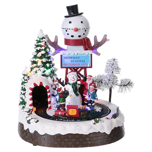 Christmas Animated Scene with Moving Train 30x25x20 cm current and battery operated 1