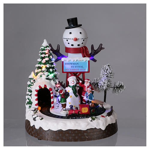 Christmas Animated Scene with Moving Train 30x25x20 cm current and battery operated 2