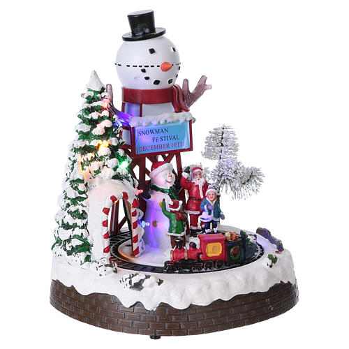 Christmas Animated Scene with Moving Train 30x25x20 cm current and battery operated 4