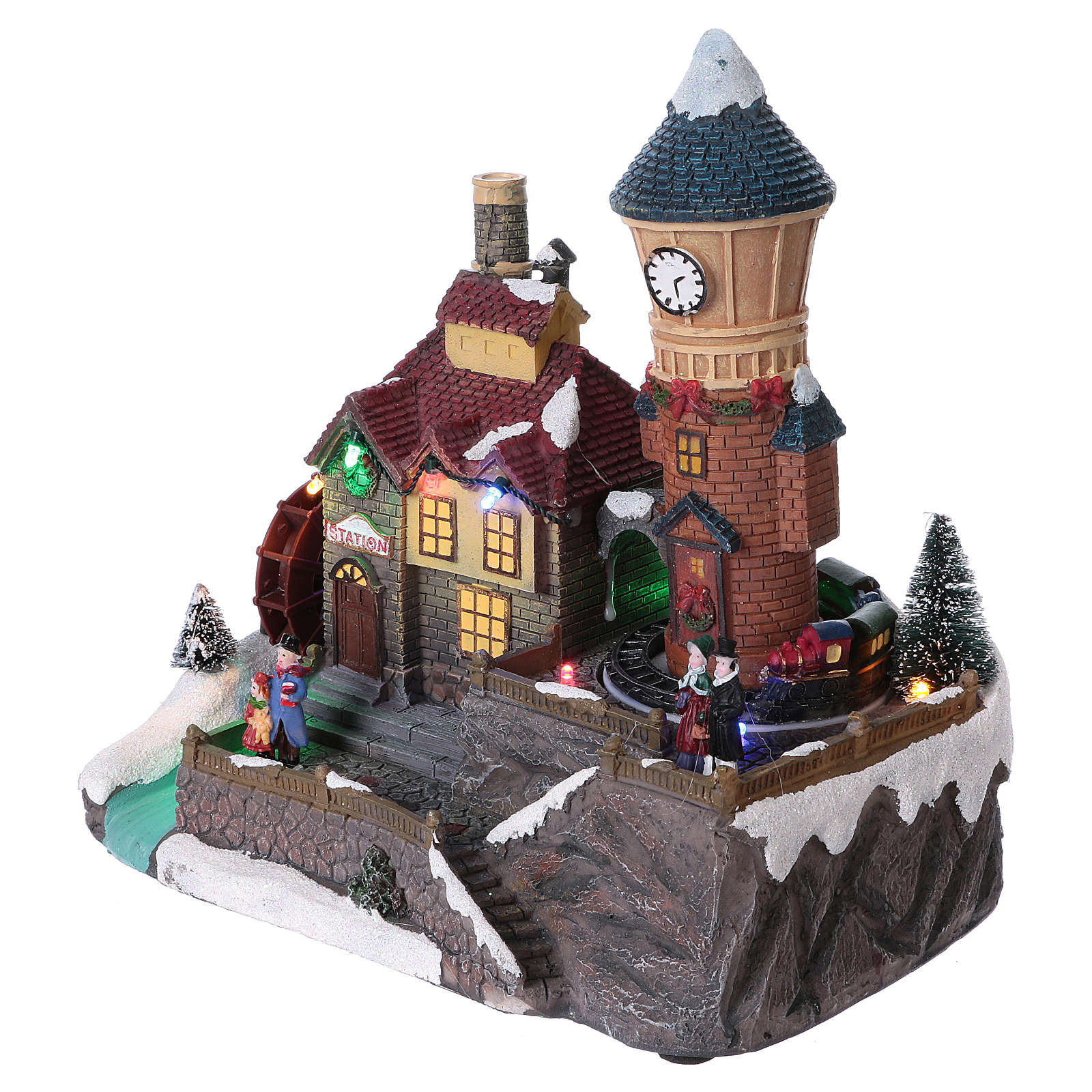 Christmas village with moving train and mill 25x25x15 cm 3