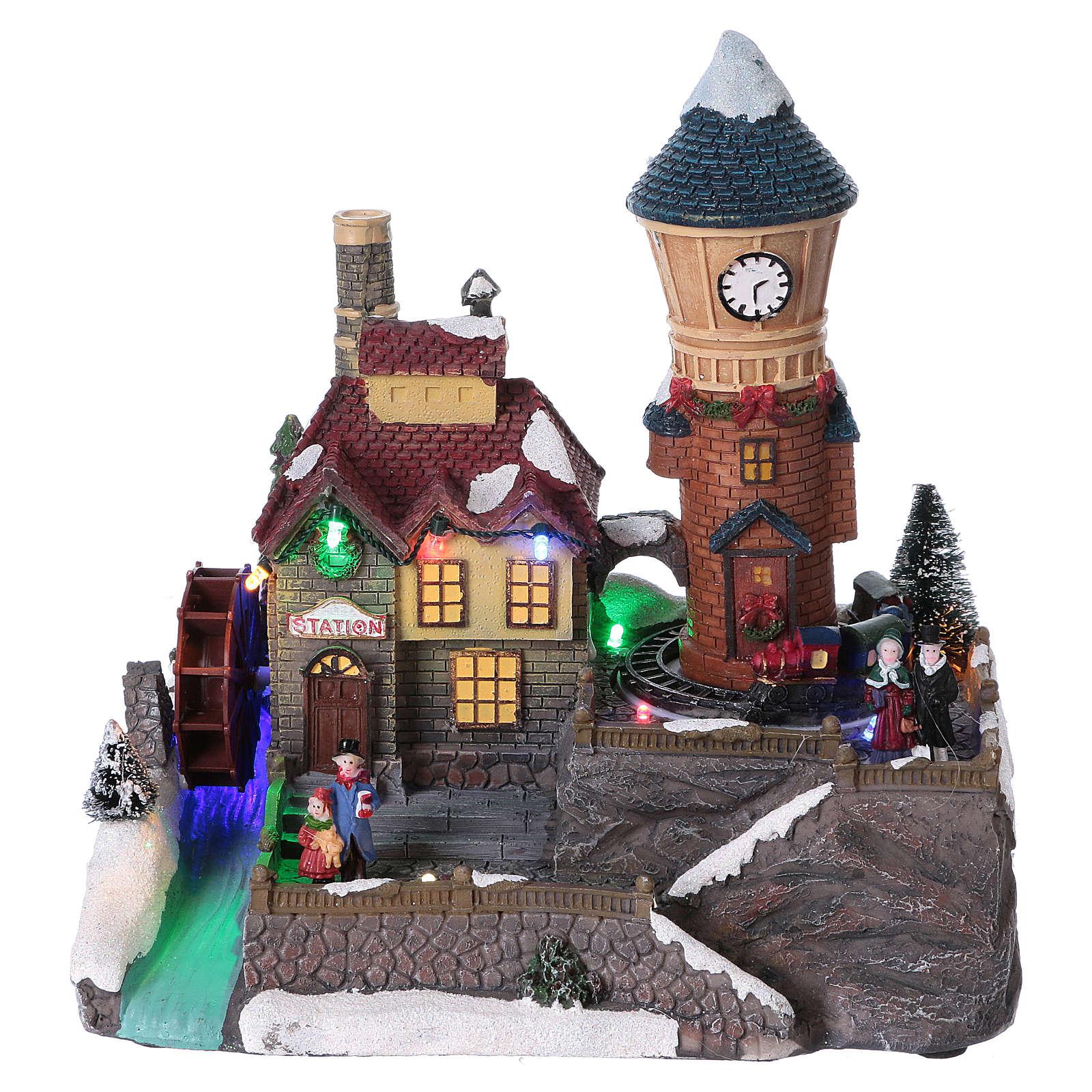 Pueblo invernal 25x25x15 cm molino y tren en movimiento batería 3