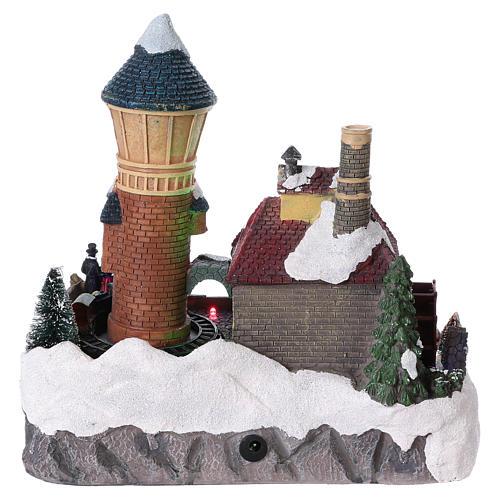 Pueblo invernal 25x25x15 cm molino y tren en movimiento batería 5