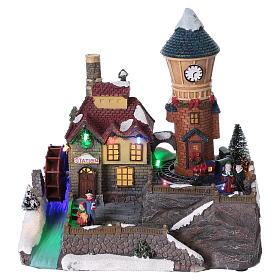 Cenários Natalinos em Miniatura: Cena de Inverno 25x25x15 cm moinho e trem em movimento pilhas