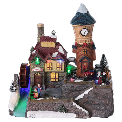 Winter Holiday Village 25x25x15 cm with Moving Mill and Train Battery Operated 1