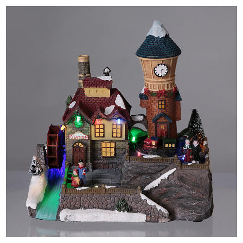 Winter Holiday Village 25x25x15 cm with Moving Mill and Train Battery Operated 2