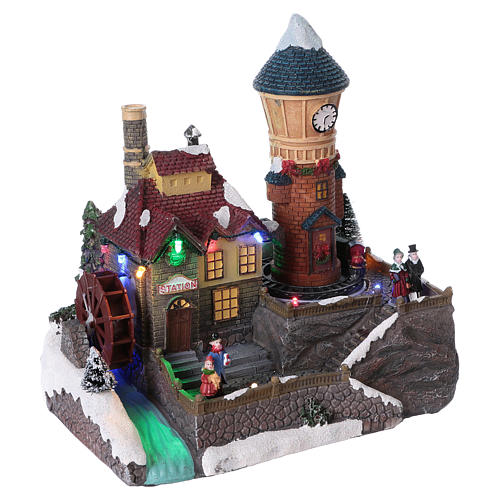 Winter Holiday Village 25x25x15 cm with Moving Mill and Train Battery Operated 4