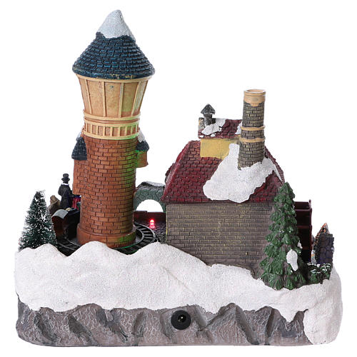 Winter Holiday Village 25x25x15 cm with Moving Mill and Train Battery Operated 5