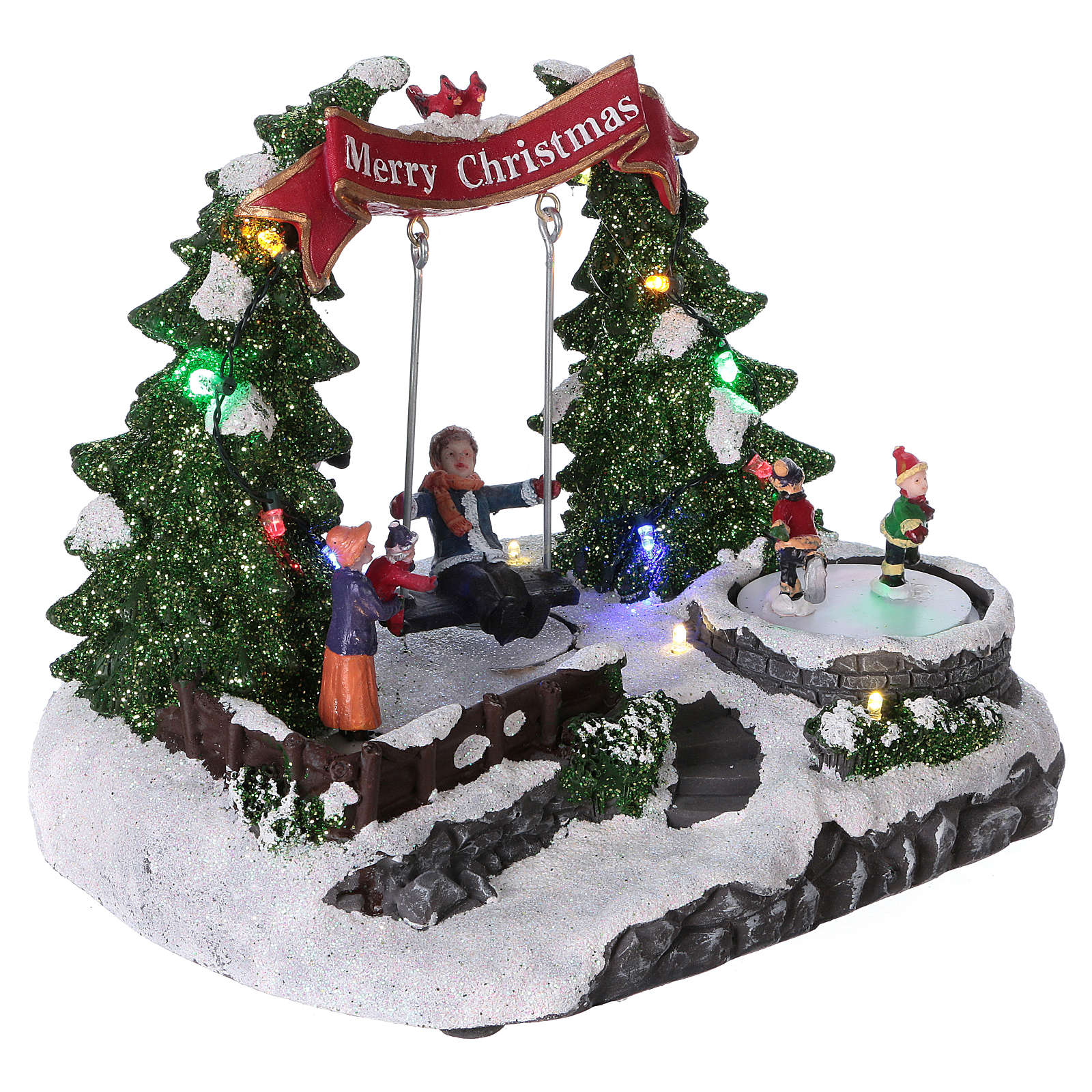 Christmas village with LED lights, moving ice-skaters and swing 20x25x20 cm 3