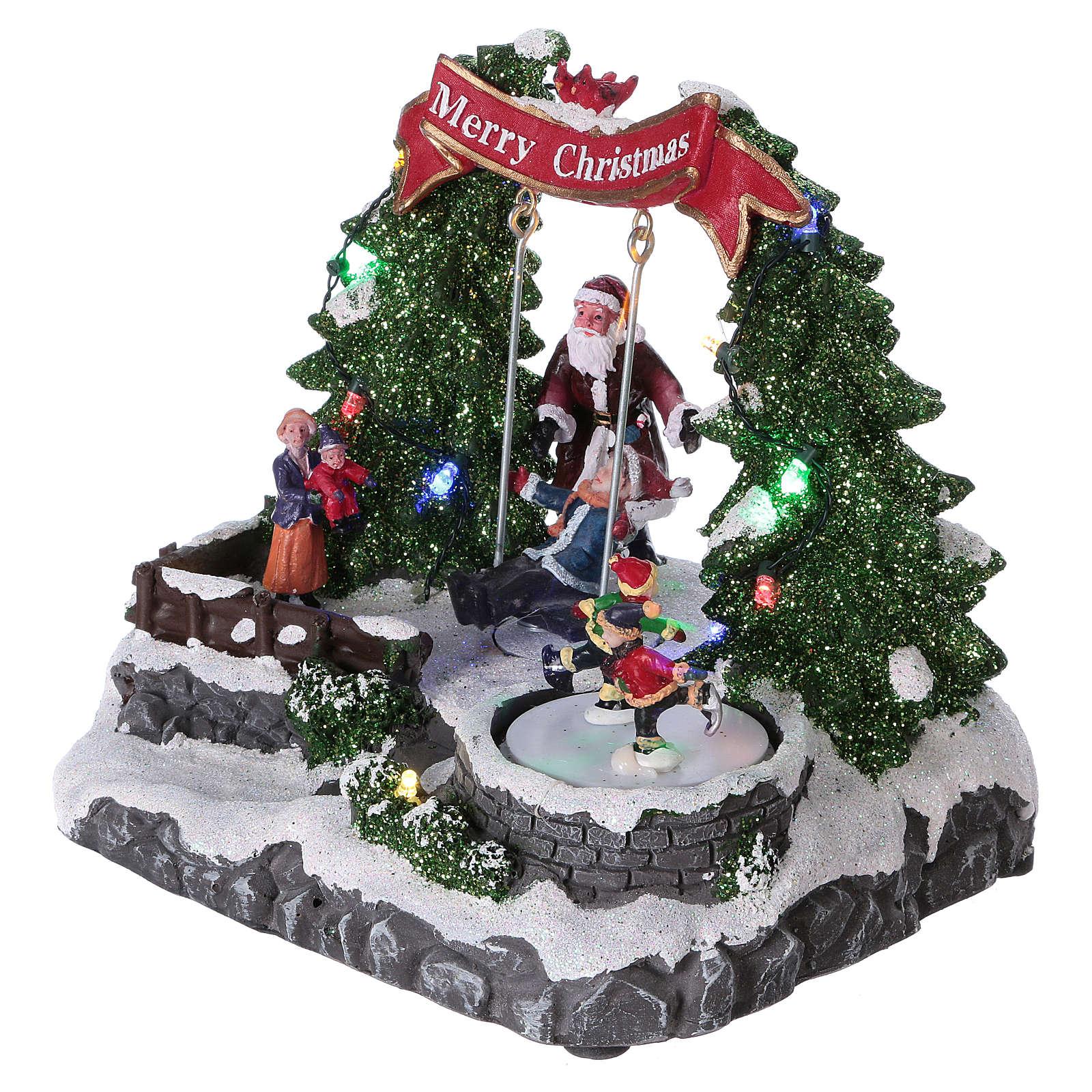 Décor Noël 20x25x20 cm patineurs et balançoire en mouvement piles 3