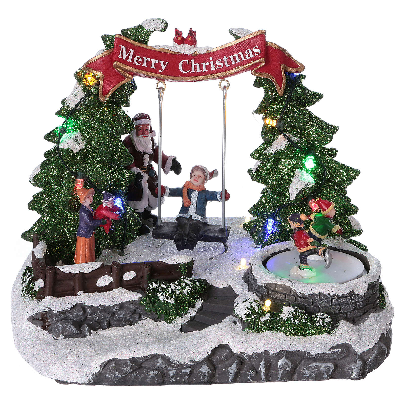 Scenografia natalizia 20x25x20 cm pattinatori e altalena in movimento batteria 3