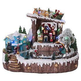 Cenários Natalinos em Miniatura: Cenário de Natal 25x30x20 cm patinadores movimento pilhas e corrente