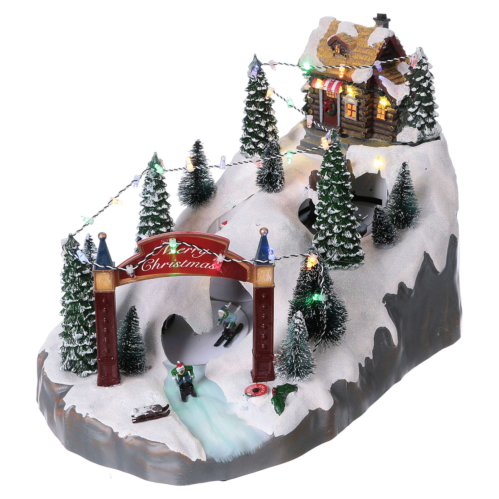 Christmas Holiday Village with In-Motion Skiers 25x25x35 cm Battery and Power Operated 3