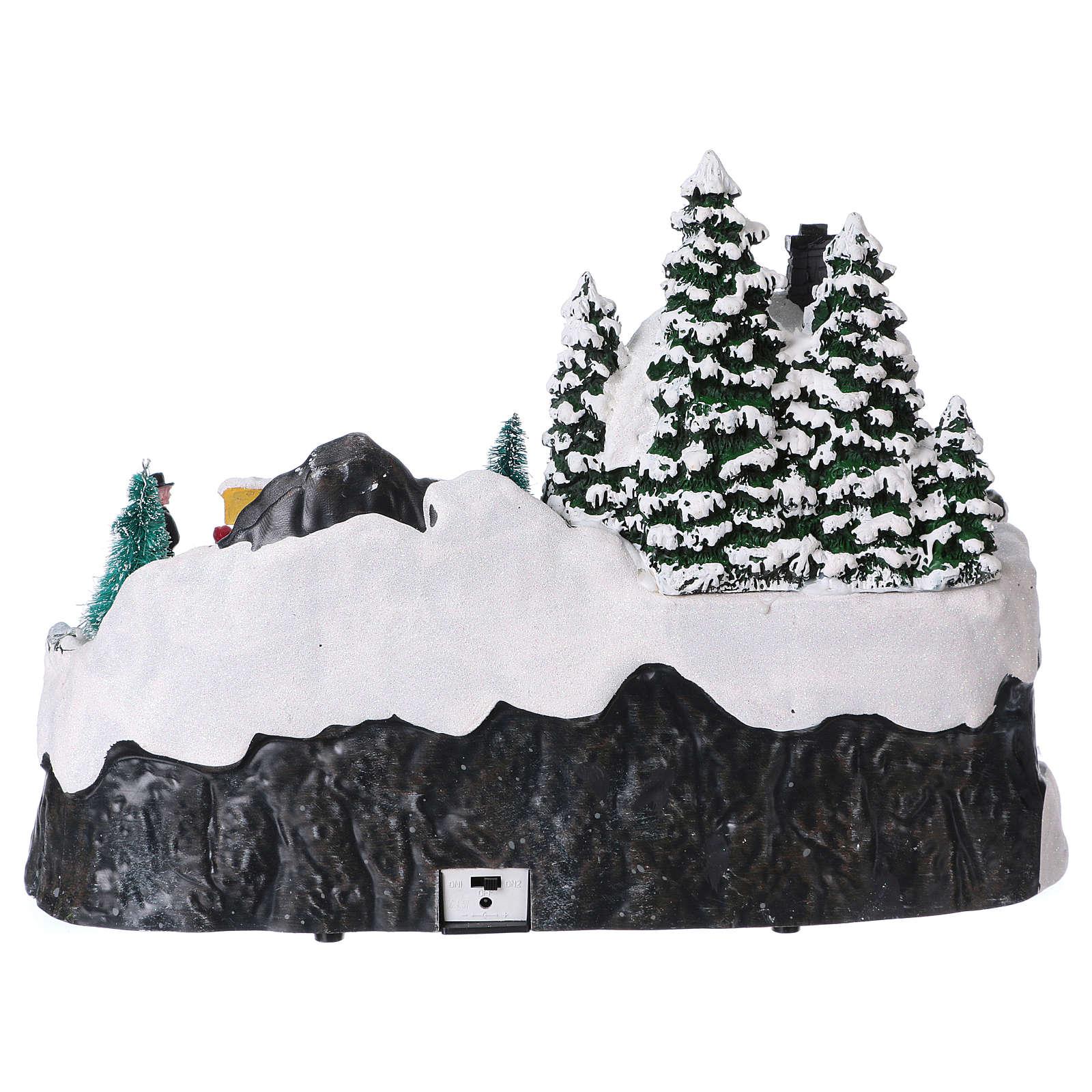 Winterszene Schlitte mit Tenntiere 25x35x25cm Licht und Musik 3