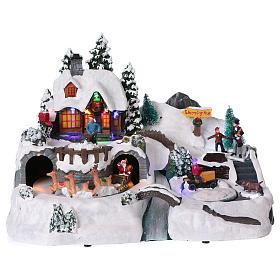 Cenários Natalinos em Miniatura: Cenário de Natal 25x35x25 cm Pai natal figuras movimento corrente