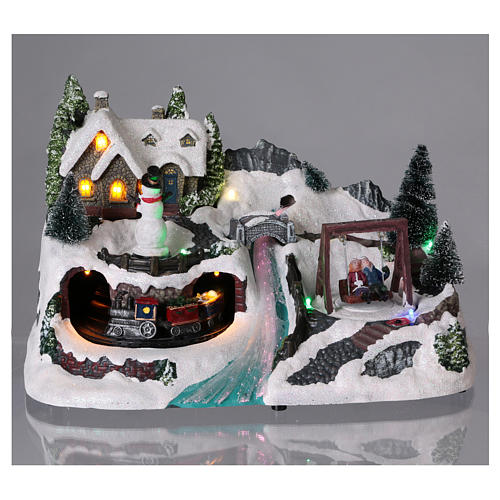 Christmas village with moving train and swing 20x30x20 cm 2