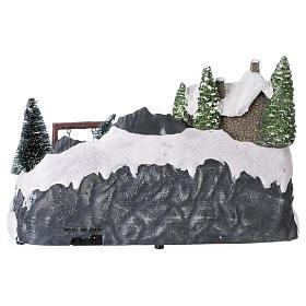 Villaggio natalizio 20x30x20 cm treno e altalena in movimento batteria s5