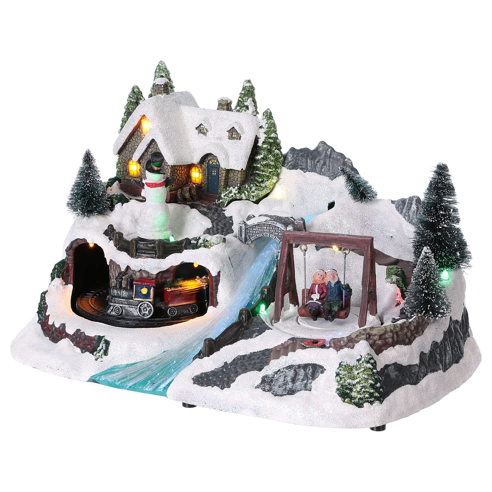 Snowy Christmas Village with Animated Train and Swing20x30x20 cm Battery operated 3