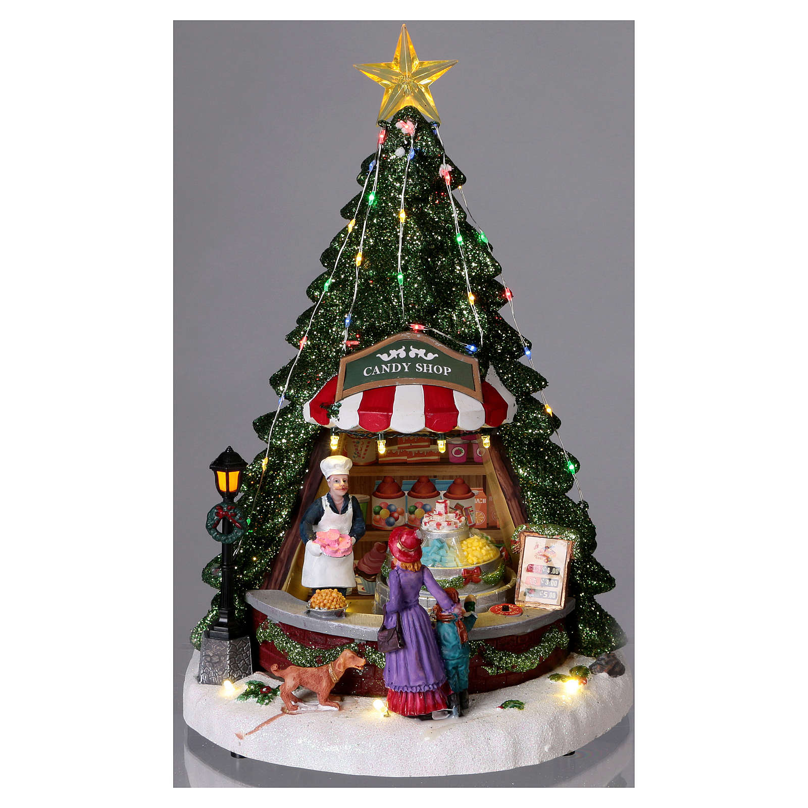 Winterszene Tannenbaum und Bonbon-Geschäft 30x25x25cm Licht und Musik 3
