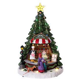 Winterszene Tannenbaum und Bonbon-Geschäft 30x25x25cm Licht und Musik s1