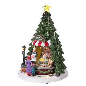 Winterszene Tannenbaum und Bonbon-Geschäft 30x25x25cm Licht und Musik s3