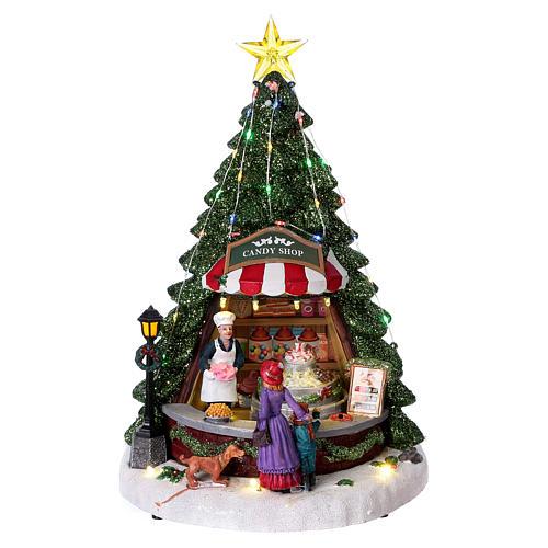 Winterszene Tannenbaum und Bonbon-Geschäft 30x25x25cm Licht und Musik 1