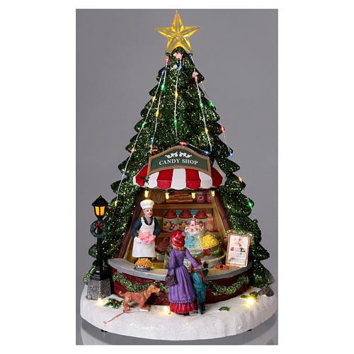 Winterszene Tannenbaum und Bonbon-Geschäft 30x25x25cm Licht und Musik 2