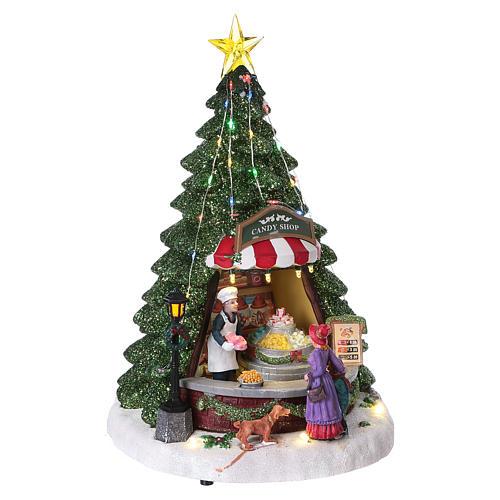 Winterszene Tannenbaum und Bonbon-Geschäft 30x25x25cm Licht und Musik 4