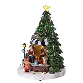 Winterszene Tannenbaum und Spielengeschäft 30x25x25cm Licht und Musik s3