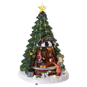 Winterszene Tannenbaum und Spielengeschäft 30x25x25cm Licht und Musik s4