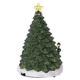 Winterszene Tannenbaum und Spielengeschäft 30x25x25cm Licht und Musik s5