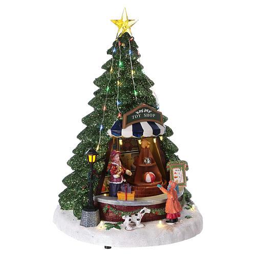 Winterszene Tannenbaum und Spielengeschäft 30x25x25cm Licht und Musik 4