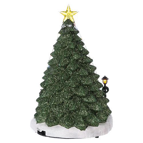 Winterszene Tannenbaum und Spielengeschäft 30x25x25cm Licht und Musik 5