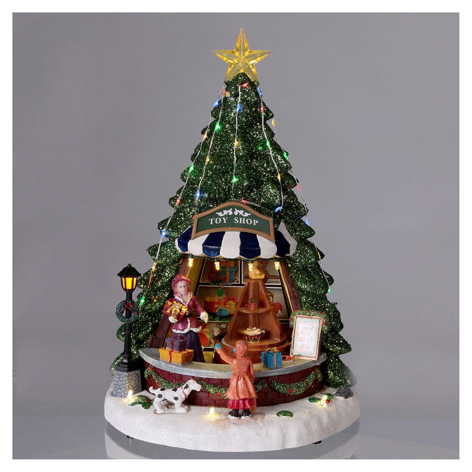 Paysage de Noël 30x25x25 cm comptoir des jouets mouvement piles et courant 3