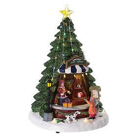 Paysage de Noël 30x25x25 cm comptoir des jouets mouvement piles et courant s4