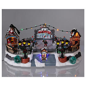 Skating Rink Christmas Scene 20x40x25 cm with Moving Skaters and Santa Clause Power Operated s2