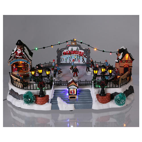 Skating Rink Christmas Scene 20x40x25 cm with Moving Skaters and Santa Clause Power Operated 2