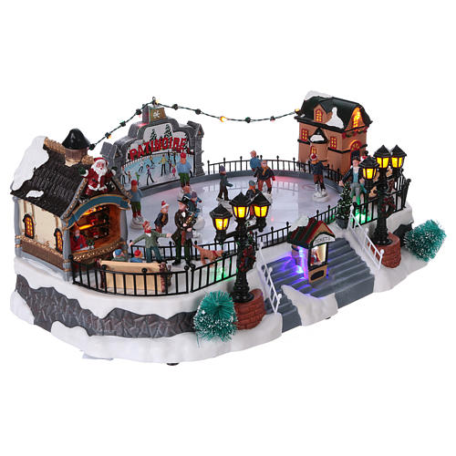 Skating Rink Christmas Scene 20x40x25 cm with Moving Skaters and Santa Clause Power Operated 4