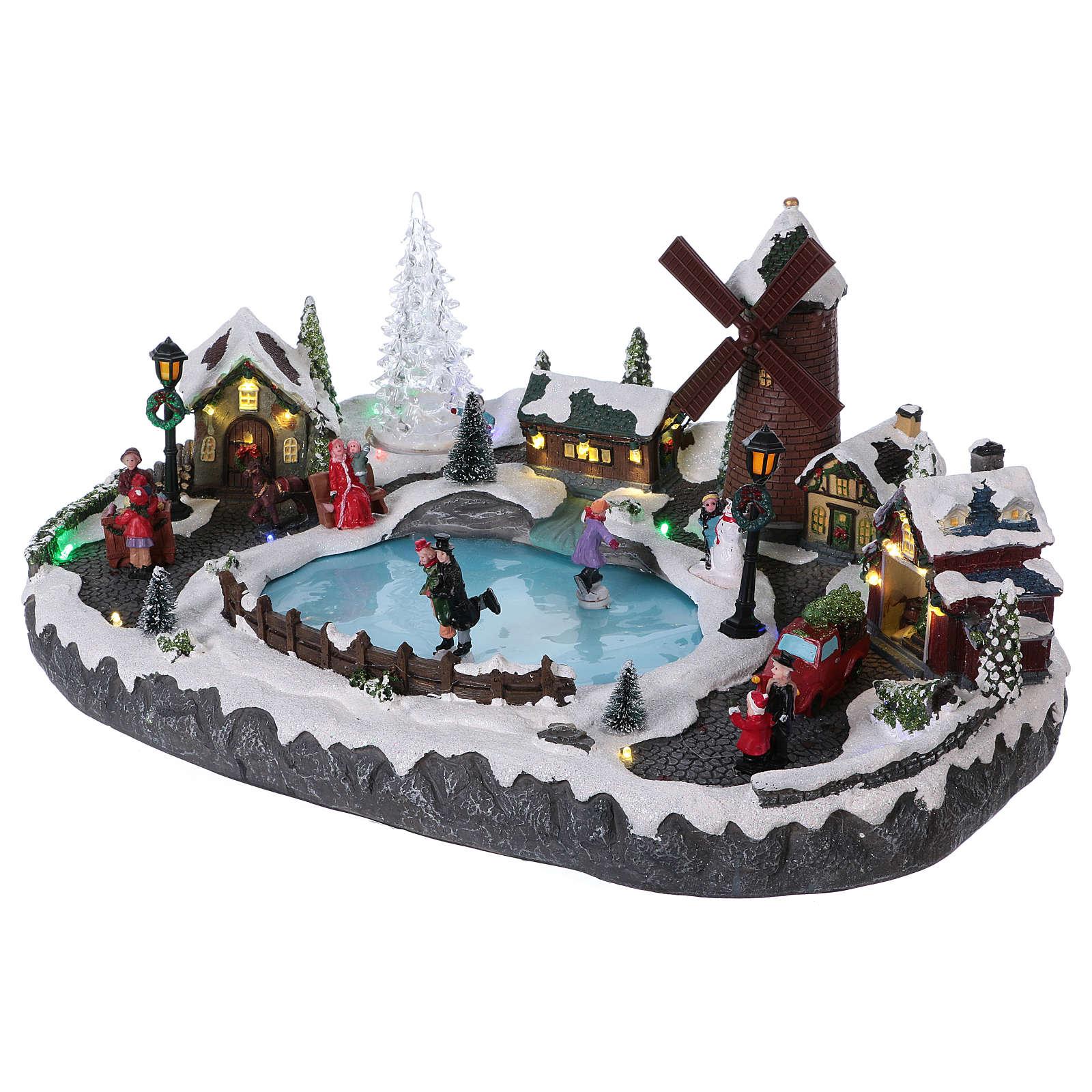 Villaggio Natale 20x45x30 cm albero mulino pattinatori mov batteria e corrente 3