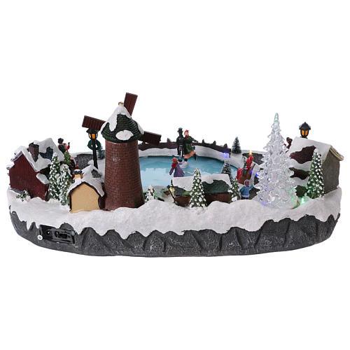 Villaggio Natale 20x45x30 cm albero mulino pattinatori mov batteria e corrente 5