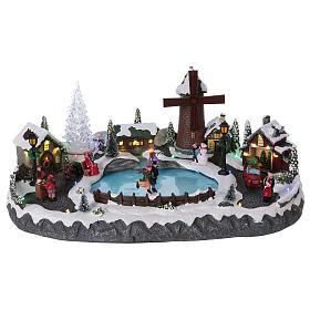 Cenários Natalinos em Miniatura: Cenário Natalino 20x45x30 cm árvore  moinho patinadores movimento pilhas e corrente