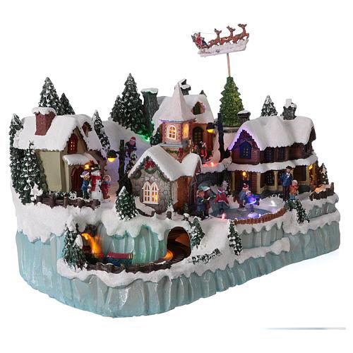 Paysage Noël 40x55x30 Cm Patineurs Train Mouvement Courant