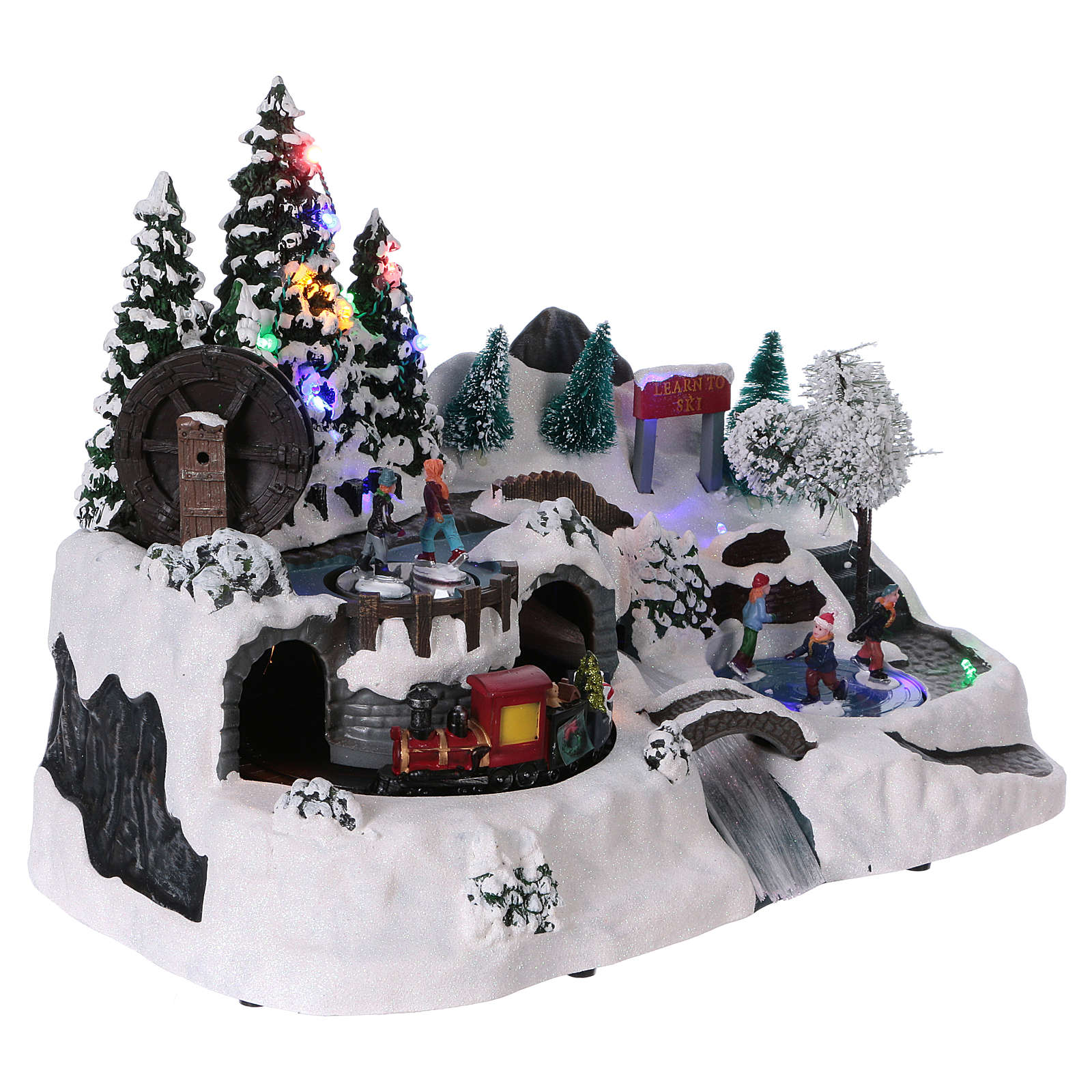 Christmas village with LED lights, moving ice-skaters and train 25x35x20 cm 3