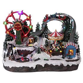 Villages de Noël miniatures: Village hivernal 40x55x35 cm patineurs carrousel roue panoramique mouvement courant