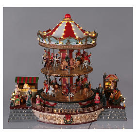 Illuminated Christmas Town with Moving Merry Go Round with music 35x40x35 cm electric powered s2